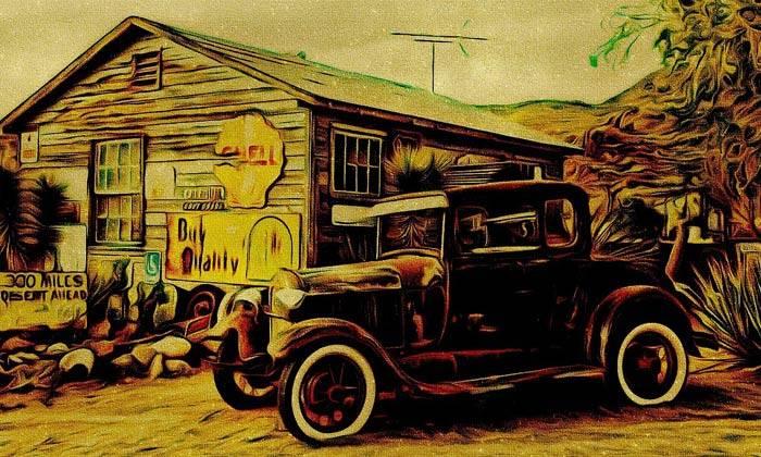 puzzle tableau ancienne voiture,