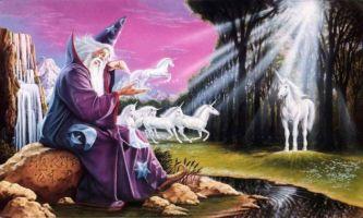 puzzle Sorcier, Dessin représentant un sorcier assis sur un rocher entouré de licornes